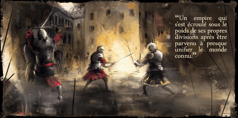 Des chevaliers en armure combattant dans une ville en flamme.
